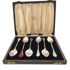 English Sterling Silver & Enamel Demitasse Spoons Boxed Set
