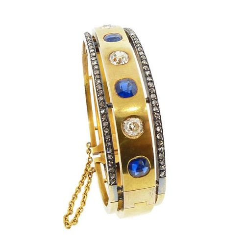 French Second Empire 18K Gold Diamond Sapphire Hinged Bangle Bracelet