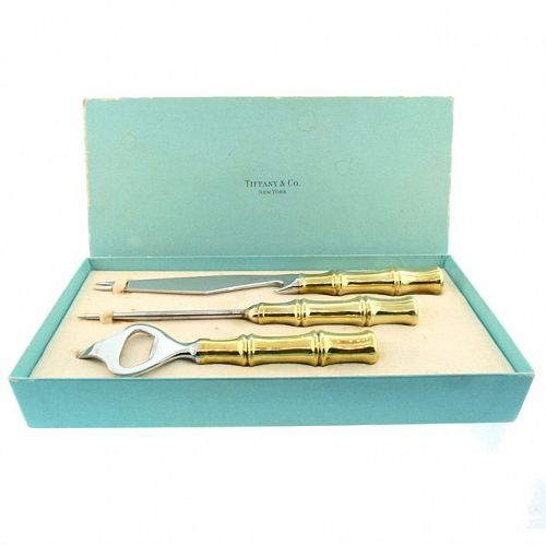 Tiffany BAMBOO Gilt Stering Silver Vermeil 3-Piece Bar Set