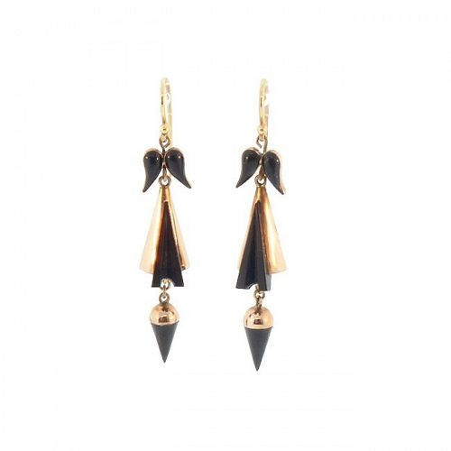 Victorian 12K Gold & Whitby Jet Earrings