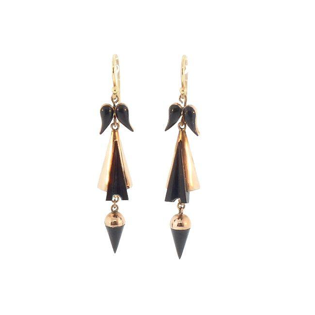 Victorian 12K Gold & Whitby Jet Earrings