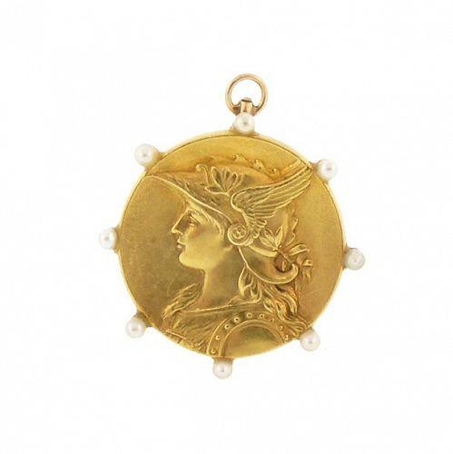 Art Nouveau 14K Gold Pearl Goddess Athena Pendant & Brooch