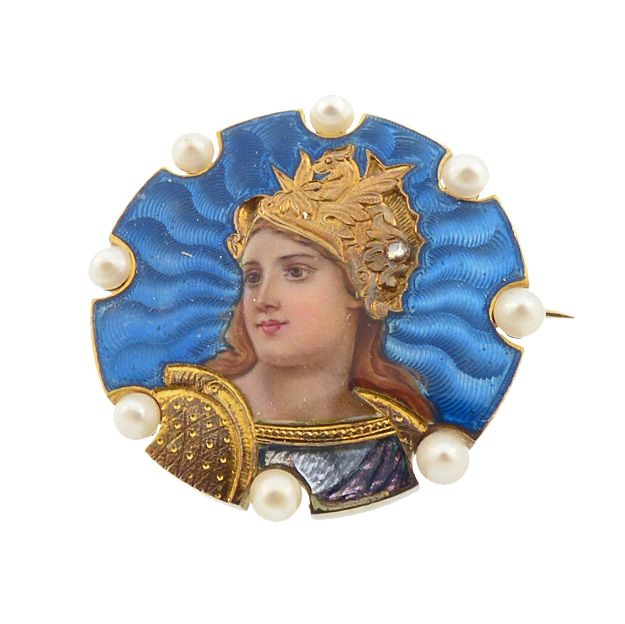 Art Nouveau 18K Gold Enamel Diamond Pearl Goddess Athena Brooch