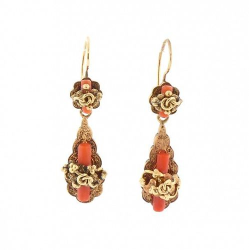 Victorian 14K Gold & Coral Day & Night Earrings