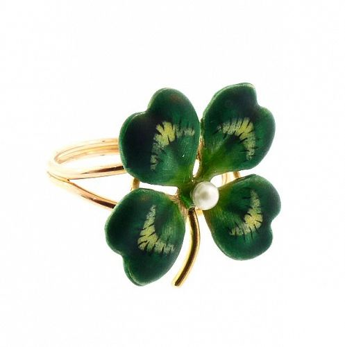 Enameled 14K Gold & Pearl Four-Leaf Clover Conversion Ring