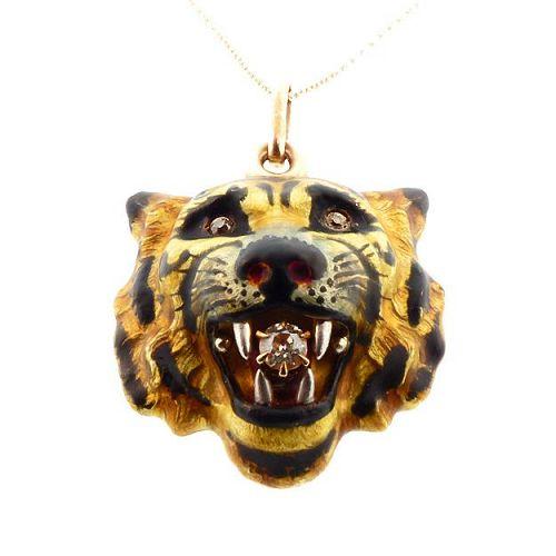 Art Nouveau Alling & Co. Diamond & Enamel Tiger Pendant