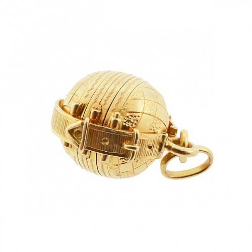 19K Yellow Gold Accordian-Fold Ball Locket