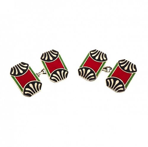 French Art Deco Silver & Champleve Enamel Cufflinks