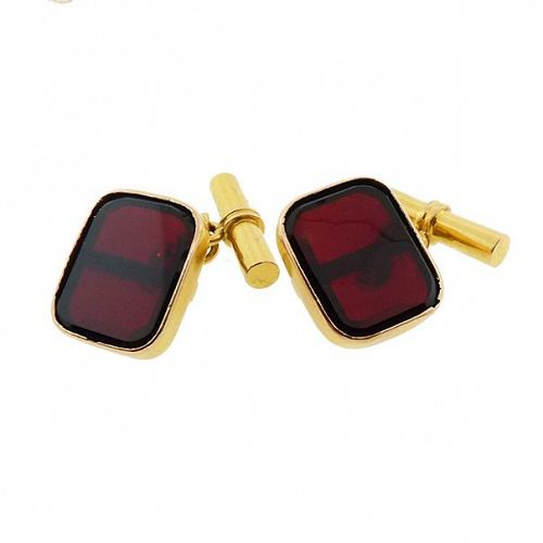 French 18K Gold & Garnet Plaque Cufflinks