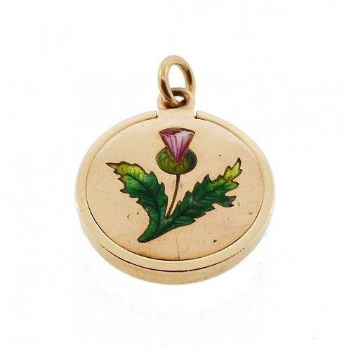 Victorian 10K Gold & Enamel Thistle Flower Language Locket