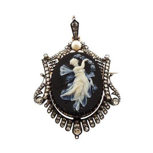 French Victorian 18K Gold Diamond & Onyx Nymph Cameo Pendant / Brooch
