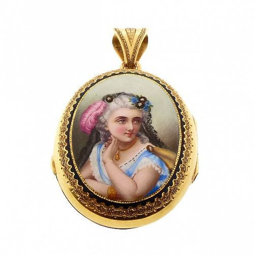 French Victorian 18K Gold, Enamel & Diamond Portrait Locket