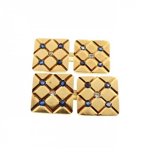 Deco 14K Gold Sapphire & Diamond Double-Sided Cufflinks, attr. Tiffany
