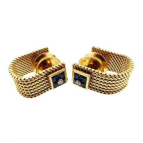 Mid-Century Gubelin 18K Gold Mesh Sapphire & Diamond Mesh Cufflinks