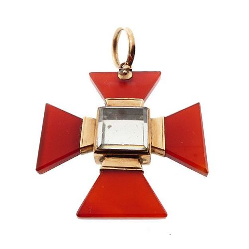 Georgian Carnelian, 12K Gold & Crystal Maltese Cross Locket Pendant