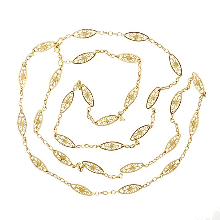 Victorian French 18K Gold Fancy Link 45-Inch Long Chain Necklace
