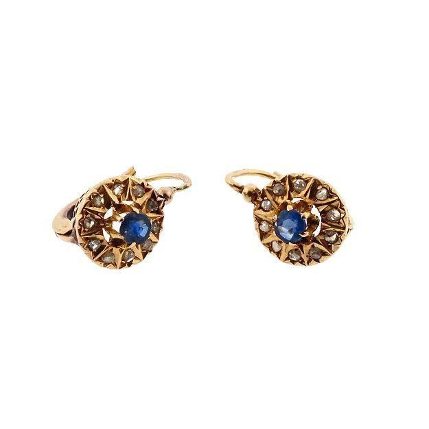 French Victorian 18K Gold Rose Cut Diamond Sapphire Dormeuse Earrings