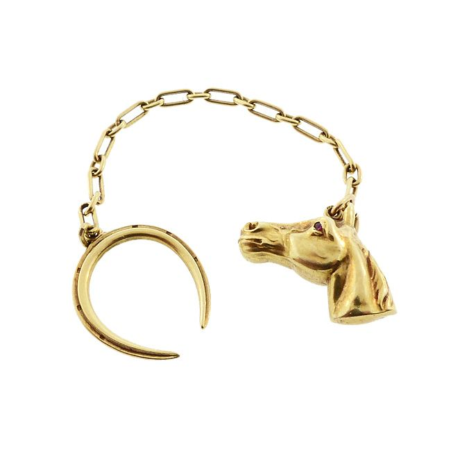 Vintage 1920s Tiffany & Co 14K Gold & Ruby Horse Keychain