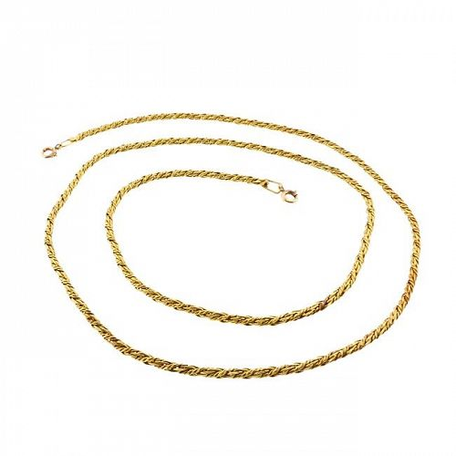 "Vintage 18K Gold Russian Braid 25"" Chain Necklace"
