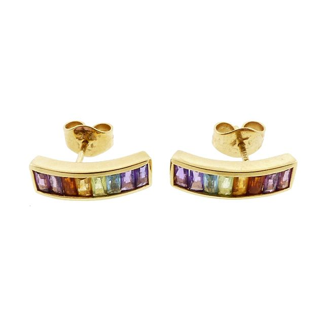 H Stern RAINBOW COLLECTION 18K Gold & Multicolored Gemstone Earrings