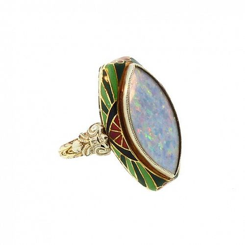 Art Deco Opal Ring in Enameled 14K Gold Setting