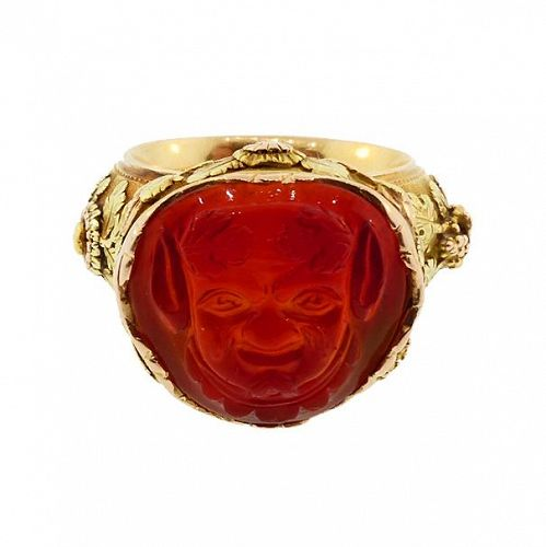 French Georgian 18K Multi-Colored Gold & Carved Carnelian Satyr Ring