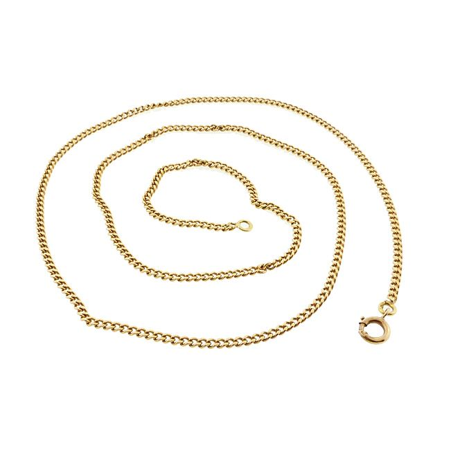 """Vintage Heavy French 18K Gold Curb Link Pendant Chain 22-3/4"""""""