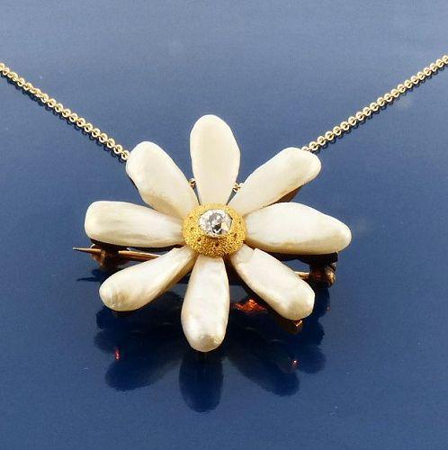 Art Nouveau 14K Gold, River Pearl & Diamond Pendant / Pin