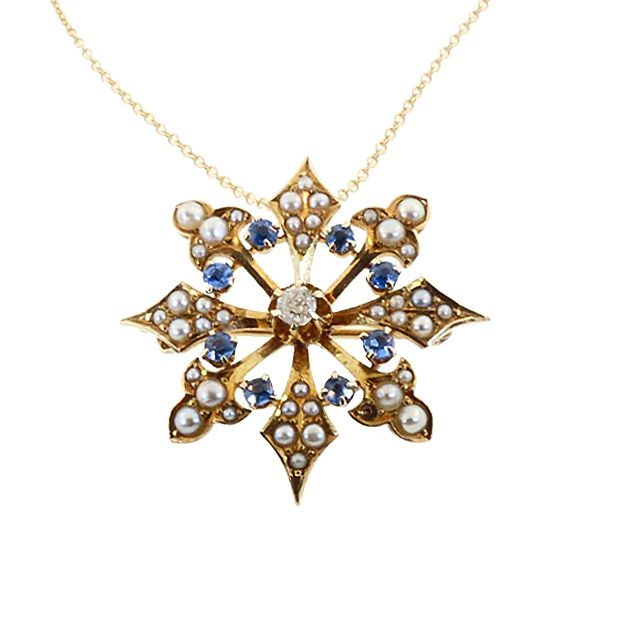 Victorian 14K Gold, Diamond, Sapphire & Pearl Snowflake Pendant / Pin
