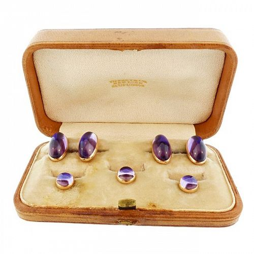 Tiffany & Co. 14K Gold & Amethyst Cufflinks & Stud Set (Original Case)