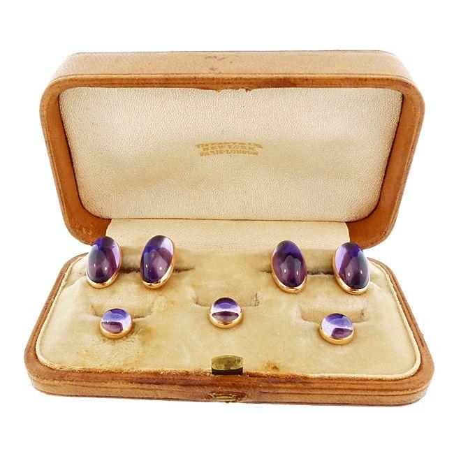 Tiffany & Co. 14K Gold & Amethyst Cufflinks & Stud Set (Original Case)