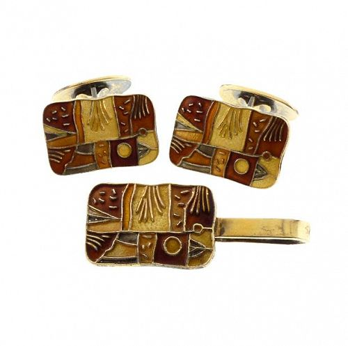 David-Andersen FOUR SEASONS AUTUMN Enameled Silver Cufflinks & Tie Bar