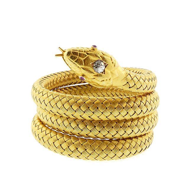 Tiffany & Co. 18K Gold Diamond Ruby Flexible Coiled Snake Bracelet