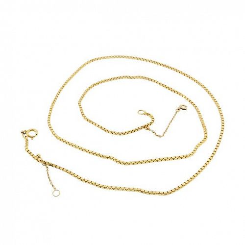 "Heavy French 18K Yellow Gold Box Chain 23-1/2"" Necklace"