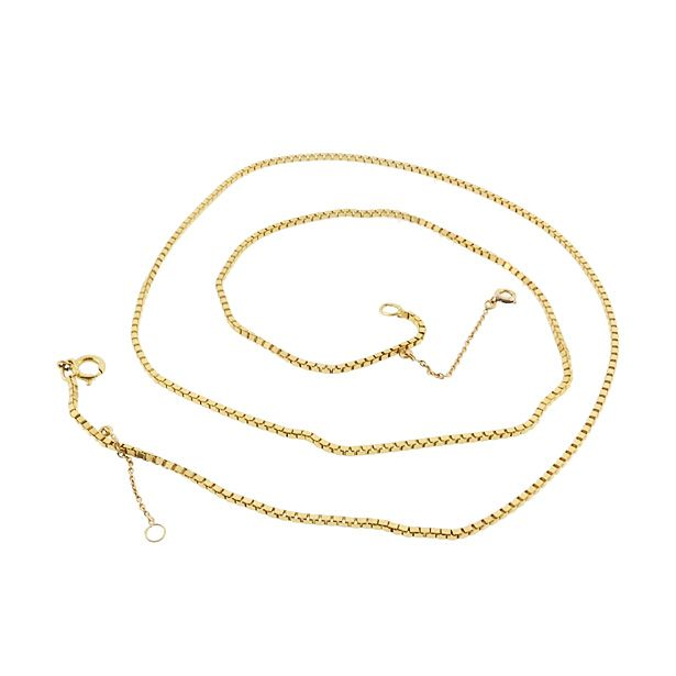 """Heavy French 18K Yellow Gold Box Chain 23-1/2"""" Necklace"""