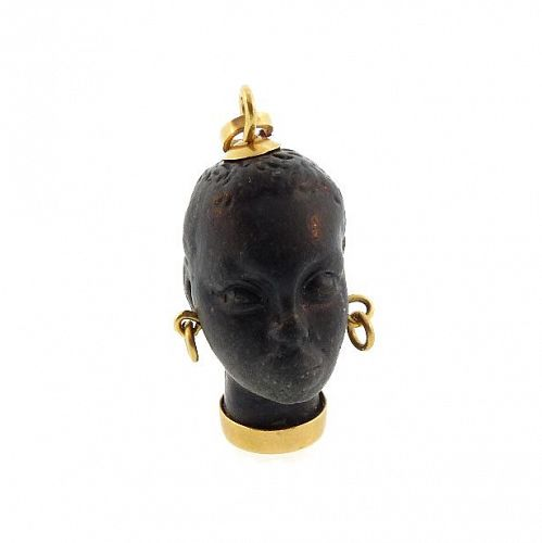 Vintage 18K Gold & Ebony Italian Blackamoor Charm