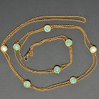 Victorian 14K Gold & Opal Long Chain Station Necklace