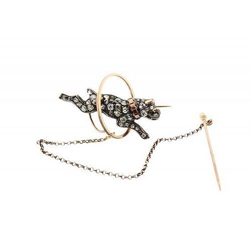 Victorian 18K Gold Diamond Bulldog Trembler Pin (En Tremblant)