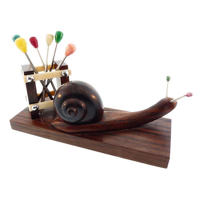French Art Deco Carved Ebony & Bakelite Snail Cocktail Pick Set