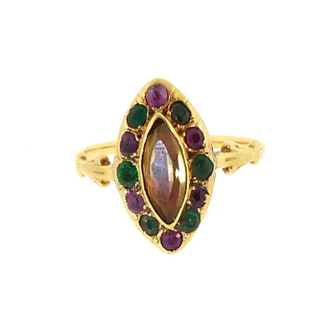 Georgian 18K Gold, Foiled Citrine Ruby Emerald & Paste Harlequin Ring