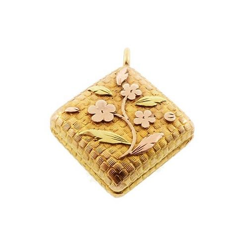Victorian Multicolored 12K Gold Floral Charm Pendant