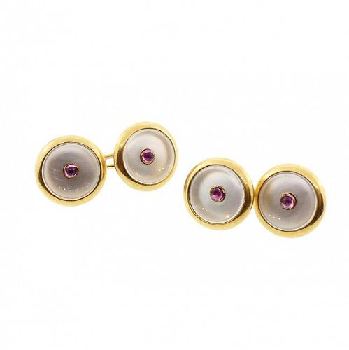 Edwardian 18K Gold Pink Sapphire & Mother-of-Pearl Double Cufflinks