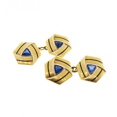 Art Deco 18K Gold Sapphire & Enamel Cufflinks