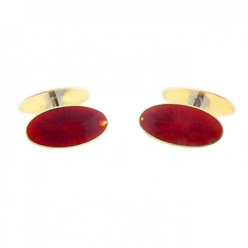 David-Andersen Red Guilloche Enamel Sterling Silver Cufflinks