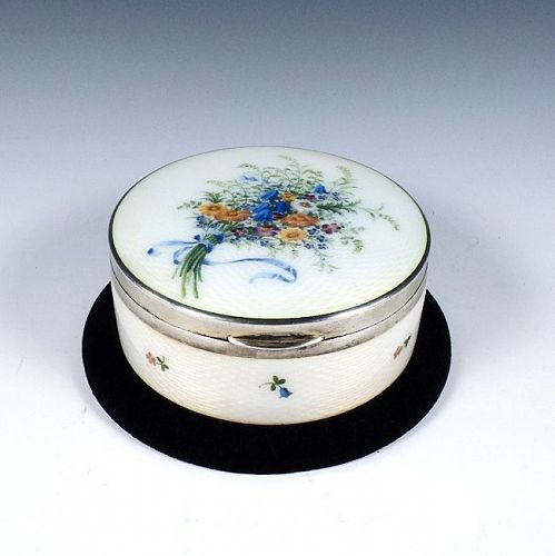 Sterling Silver & Guilloche Enamel Powder Box by Georg Adam Scheid