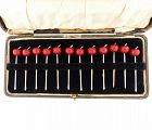 Art Deco Sterling Silver & Red Bakelite Cherry Cocktail Picks Box Set