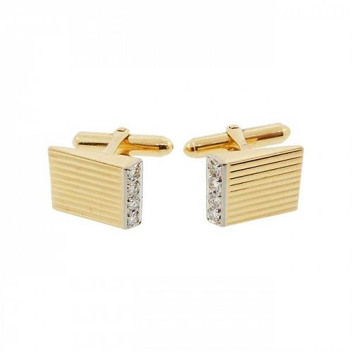 Larter Mid-Century Modern 14K Yellow Gold & Diamond Cufflinks