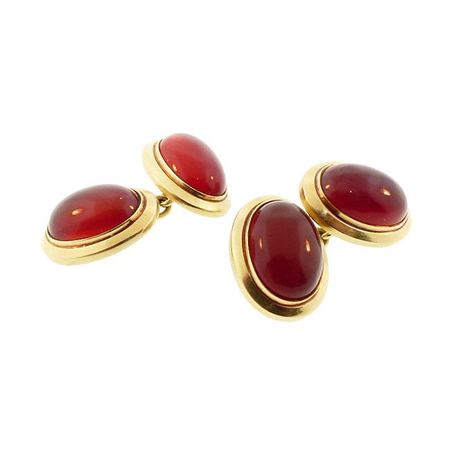 Art Deco Carnelian & 14K Gold Double-Sided Cufflinks