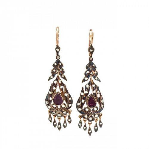 Georgian Style 12K Gold, Rose Cut Diamond & Rhodolite Garnet Earrings