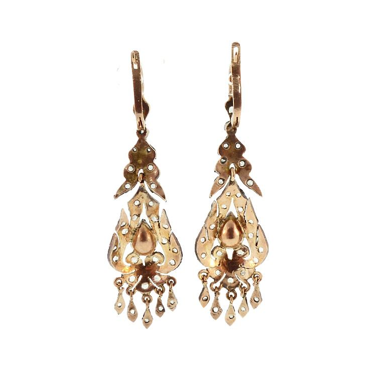 Georgian Style 12K Gold, Rose Cut Diamond & Rhodolite Garnet Earrings